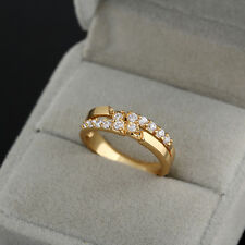 Luxury Women 18K Gold Filled Crystal Rhinestone Wedding Ring Fashion New Jewelry