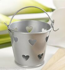 METAL MINI SILVER HEART WEDDING FAVOUR PAILS BUCKET PARTY GIFTS TABLE DECORATION