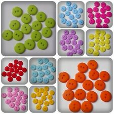 15 x 2-Hole Acrylic Buttons - Round - 15mm [Various Colours Available]
