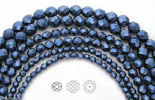 Czech Glass Fire Polished Beads in Blue Carmen Metallic Pearl, Faceted Pearls