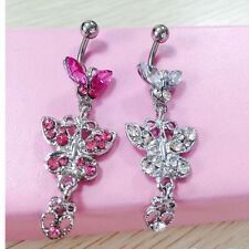Crystal Butterfly Dangle Ball Barbell Belly Button Navel Ring Body Piercing H2