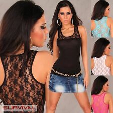 Womens Sexy Sleeveless Top Lace Club Wear Party Casual Ladies Shirt Size 6 8 10