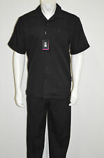 Stacy Adams Walking 2 Piece Suit Poly-Rayon Black One chest pocket