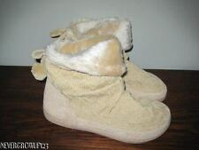 WOMENS S~M~KNIT BOOT SLIPPERS WITH POM POMS~FAUX FUR CUFF~TAN~NWT