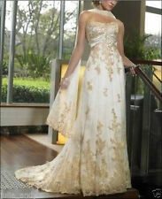 2015-2016 New champagne wedding dress in stock size 6-16  good price/quality  A