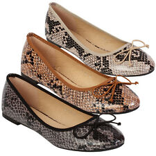 Ladies Flats Shoes Womens Snake Ballerinas Dolly Slip On Shoes Pumps Size