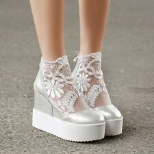Sweet womens shoes high top wedge heel lace round toe high heels sandals boots