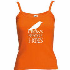 Womens Funny Lady Fit Strap tshirt-Crows Before Hoes..Game Of Thrones Style Vest