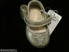 OSHKOSH AIMEE GOLD BUTTERFLY BALLET FLATS~VELCRO SHOES~BABY GIRLS 2~3~NWT
