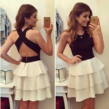 New Sexy Women Summer Casual Sleeveless Party Evening Cocktail Short White Dress