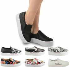 WOMENS LADIES HI SKATERS FLATFORM TRAINERS SLIP ON PLIMSOLLS PUMPS SHOES SIZE