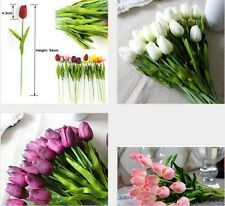 12/24 Tulip Artificial Flower Latex Real Touch Bridal Wedding Bouquet Home Decor