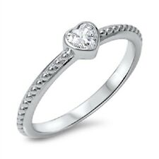 Cute Heart CZ Ring, Modern Design, Comfort Fit, 925 Sterling Silver, Love, Mom