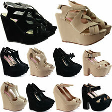 LADIES WOMENS ANKLE STRAP HIGH HEEL PEEP TOE PLATFORM WEDGES SANDALS SHOES SIZE