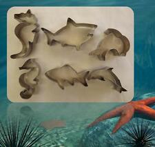 3pc Metal Sea Horse Dolphin Shark  Cookie Cutter Biscuit Fondant Stamp Cake Mold