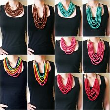 GALAXY Colorful 7 Layer Bib Collar Women Necklace Wooden Beads Round Strands
