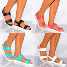 BRIGHT FLATFORMS STRAPPY SANDALS WEDGED PLATFORMS PEEP TOES SUMMER FLAT SHOES