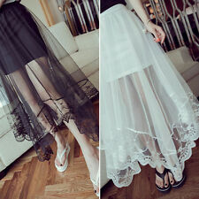 Summer Girl Gauze See Through Tulle Lacing Gothic Maxi Skirt Sexy Long Dress Hot