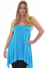 New Womens Cami Ladies Tank Top Thin Strap Long Tunic Summer Plus Size Nouvelle