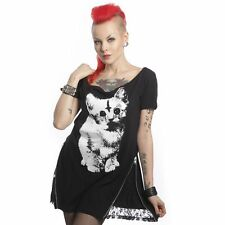 Heartless Kitty Cat Top Ladies Black Goth Emo Punk Girls