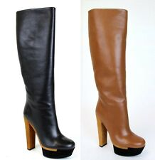 $1450 New Authentic Gucci Leather Platform Heel Knee Boot, 323488