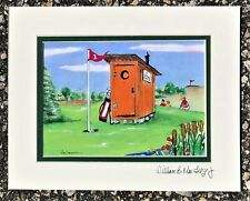 Personalized Outhouse Golf Art Print Clubs Golfer Gift Clubhouse Course Cart PGA