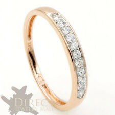 9ct SOLID Rose GOLD 0.2ct look Created DIAMOND Half Eternity Wedding Ring Gift