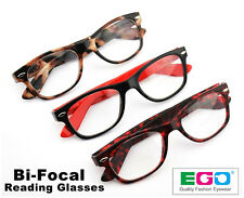 EGO Bifocal Reading Glasses Classic Style Retro Readers (Spring Hinge)