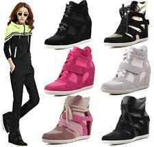 Celebrity Style Funky Color Block Suede High-top Sneakers Ankle 7CM Wedges Boots