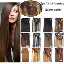 12pcs/set Synthetic Fibre Long Straight Full Head Clip In Hair Extensions 22inch