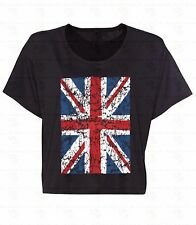 Union Jack Distressed Boxy Tank Top Cropped British Flag Gift Flowy Crop Shirt
