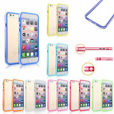 Colorful Clear Bumper Frame Cover Case w/Side Buttons For Smart Phones