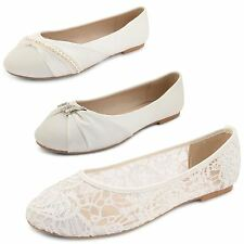 Womens Ladies Lace Flat Ballet Dolly Pumps Girls Ivory Ballerina Shoes Size UK