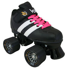 Riedell Volt Roller Quad Derby Speed Skates - Free 2 pr Laces White & Pink
