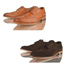 MENS REAL LEATHER WELTED BOYS SMART OFFICE WORK LACE UP TAN BROGUE SHOES SIZE