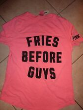 "VICTORIAS SECRET PINK GRAPHIC ""FRIES BEFORE GUYS"" SCOOPNECK TEE NWT"