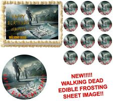 WALKING DEAD New World Zombies Edible Cake Topper Frosting Sheet Image-All Sizes