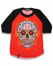 Six Bunnies Sugar Skull Punk Tattoo Kids Tshirt Top Day the Dead Long Raglan