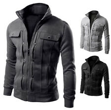 Zipper Stand-up Collar Fashion Slim Fit Mens Coat Jackets Stylish Casual Outwear
