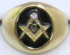 14K GOLD EP MASONIC  MASON MENS cz RING size 12 - 13 freemason black round