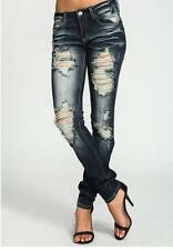 cutout JEANS Ripped Distressed Destroyed Dark Denim Skinny Slim Denim Nina