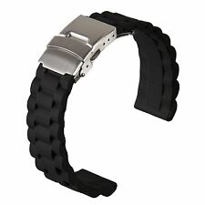 Silicone Rubber Watch Strap Deployment Black Oyster Stainless Steel 20 22 24mm
