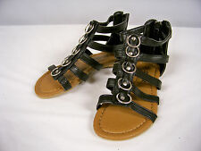 New in Box Girls Black Gladiator Sandals with Ring Accents  Youth Sizes 11 - 1