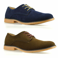 Mens New Faux Suede Lace Up Casual Formal Office Work Plain Brogues Shoes Size