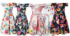 NEW LADIES  WOMEN FLORAL BOX PLEAT OFF SHOULDER SKATER DRESS PARTY SUMMER/SPRING