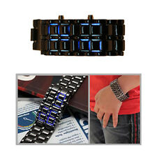 LED Digital Samurai Lava Wrist Watch Sports Metal Band Watch Mens Womens Unisex