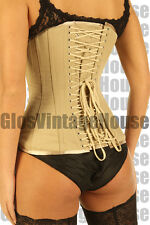 Beige tan Cotton corset back lacing Victorian style full steel boned underbust