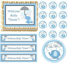 Blue Elephant Baby Shower Raining Hearts Party Edible Cake Topper-All Sizes!