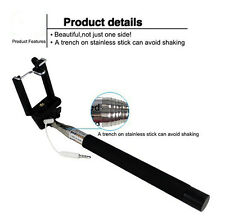For iPhone Samsung Extendable Wired Remote Shutter Handheld Selfie Stick Monopod