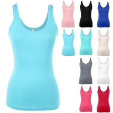 Basic Sleeveless Solid Scoop Neck Muscle Tank Top Casual Rayon Spandex S M L